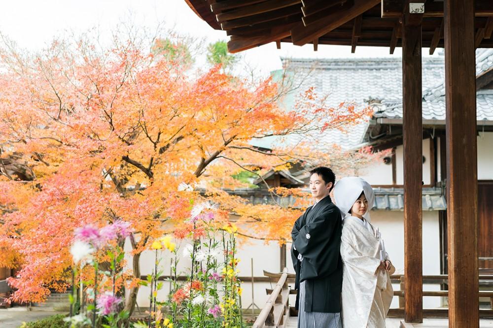 京都で由緒あるお寺で和装撮影