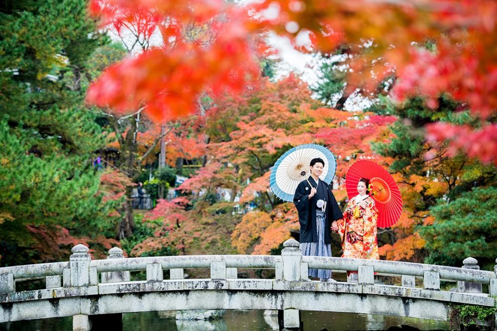 京都は丸山公園で撮影の新郎Tさんと新婦Aさん