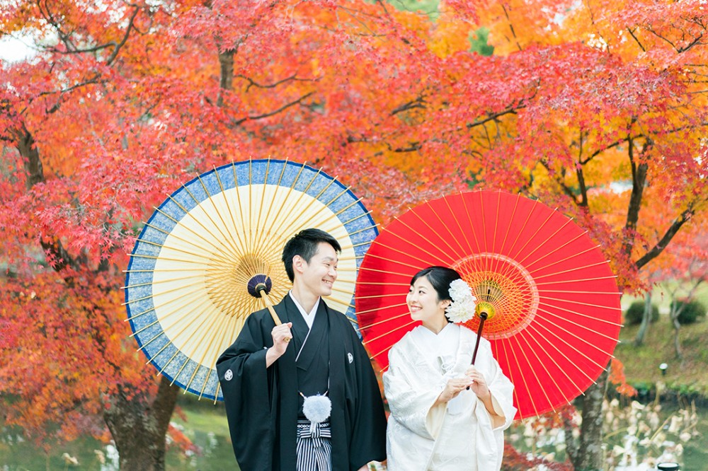 京都大覚寺の紅葉と新郎新婦様