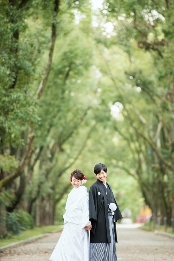 京都の風情ある並木道にて