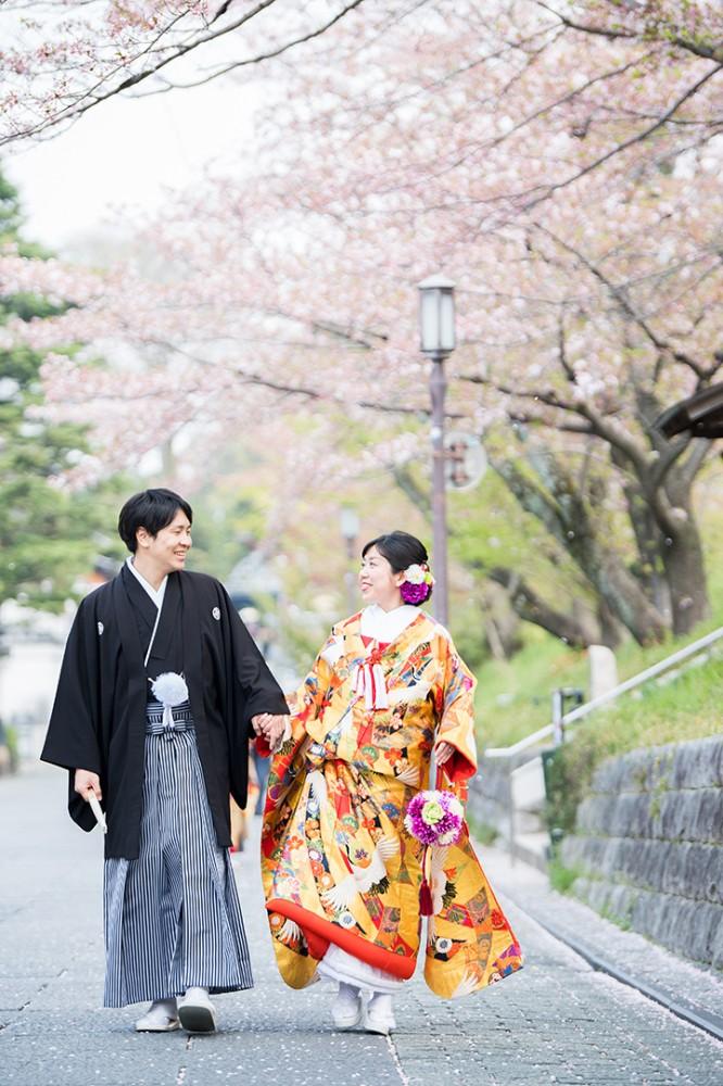 高台寺下の京都の町屋付近での和装撮影