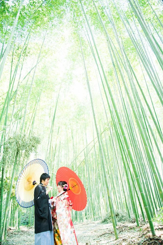 風情ある竹林で前撮り撮影