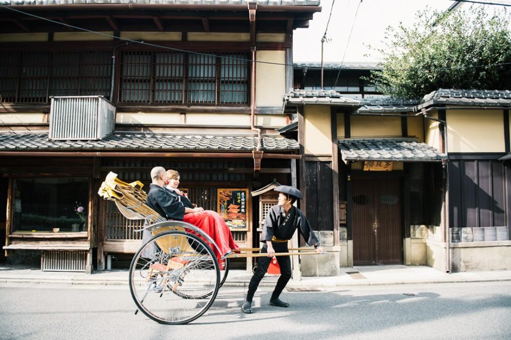京都は人力車での和装の前撮り撮影