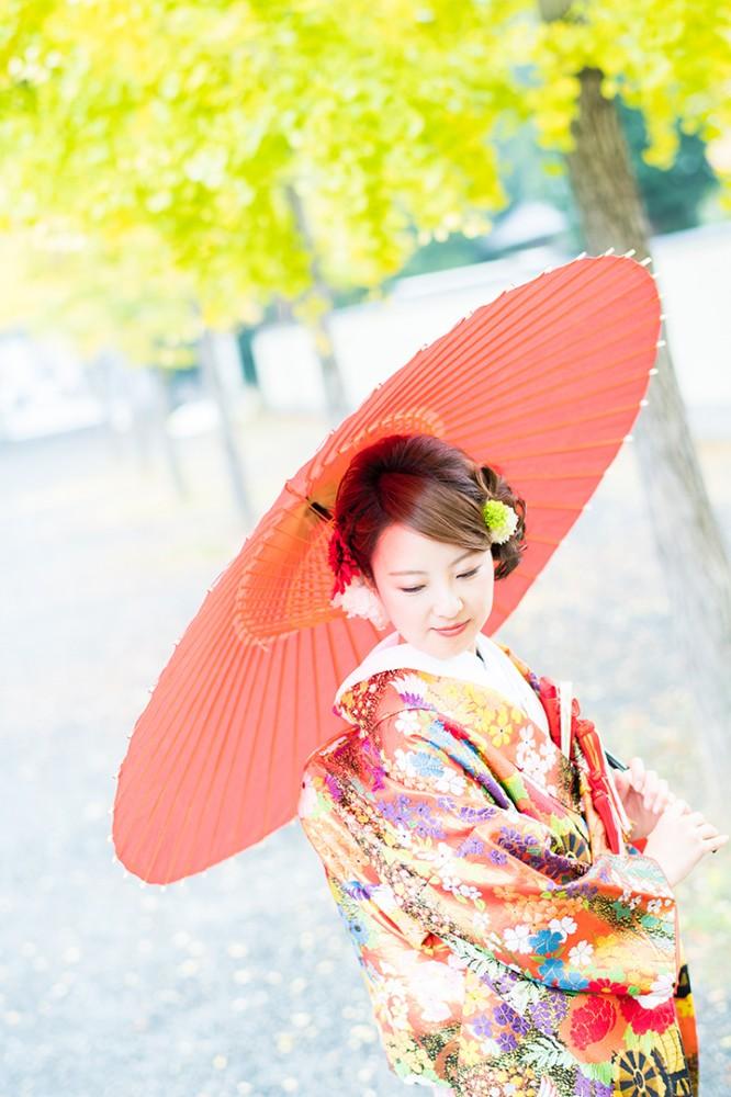 京都のイチョウ並木とのお写真
