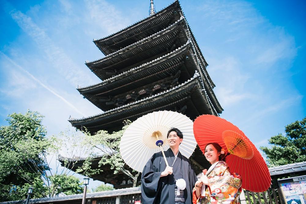京都の五重塔付近で前撮り