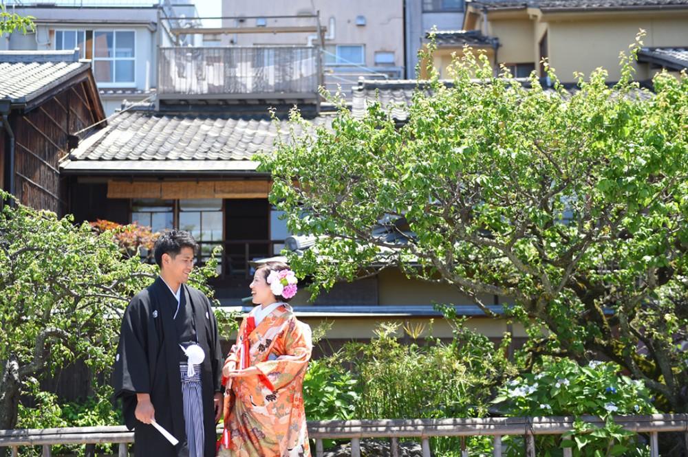 京都で和装の前撮りのT様とT様