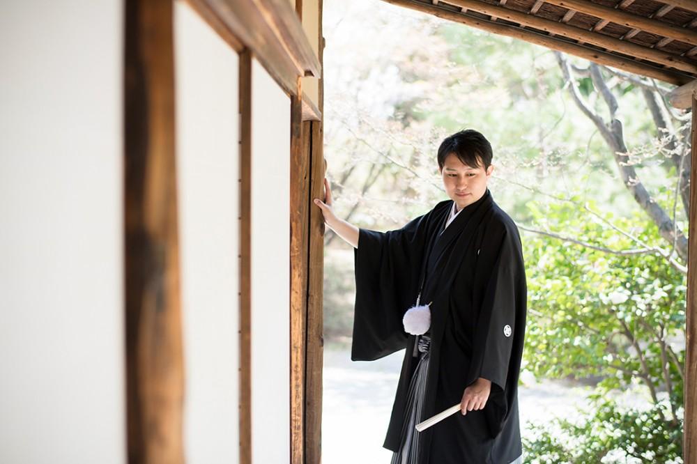 京都は国立博物館にあるお茶室での前撮り撮影