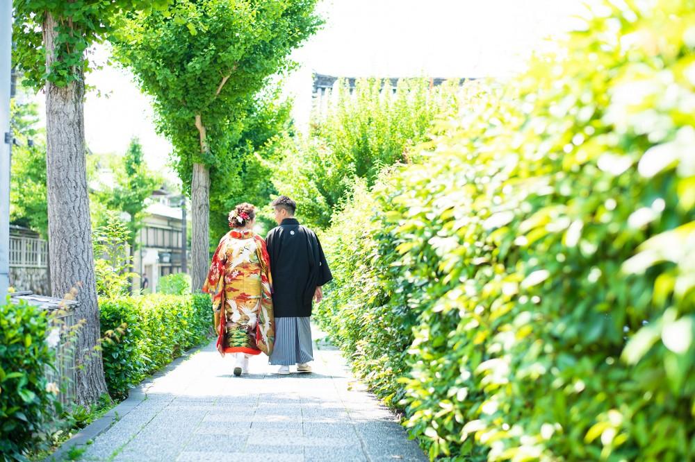 色打掛と紋付袴で、後姿、歩いている姿