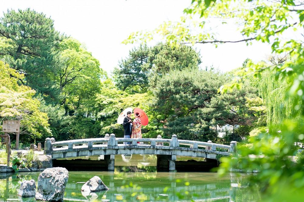 京都の和風公園で前撮り