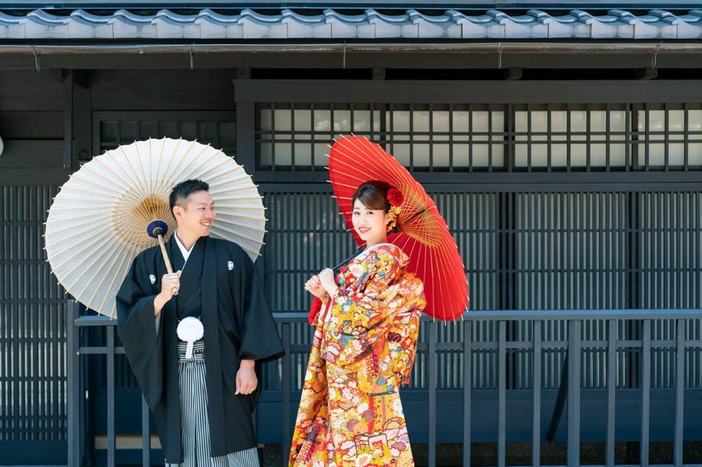 京都の祇園で、和装前撮り撮影