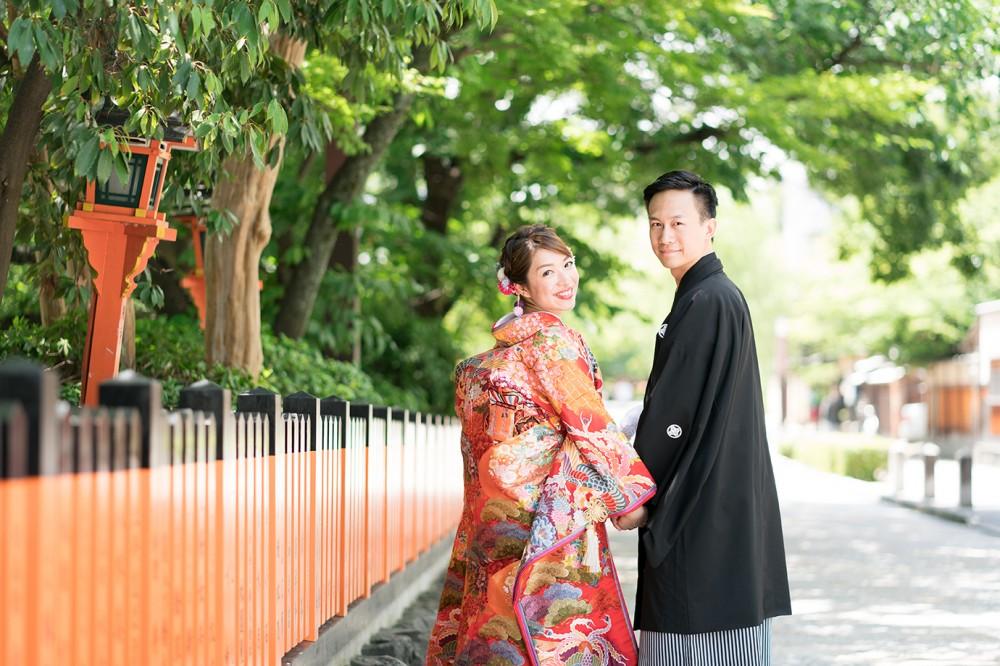 祇園白川での和装前撮りイメージ。京都前撮り美翔苑