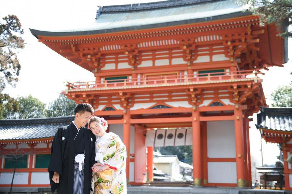 神社で和装前撮り写真