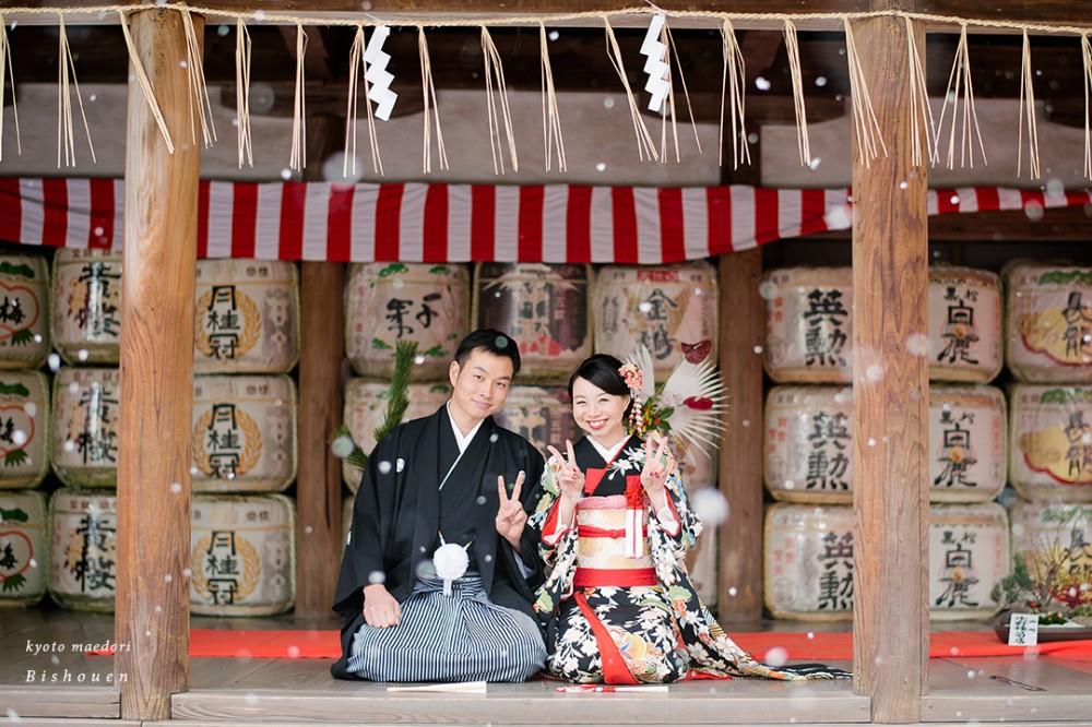 吉田神社にて和装前撮り、正座シーン