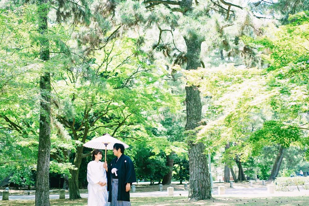 京都は御所での和装のロケーション撮影