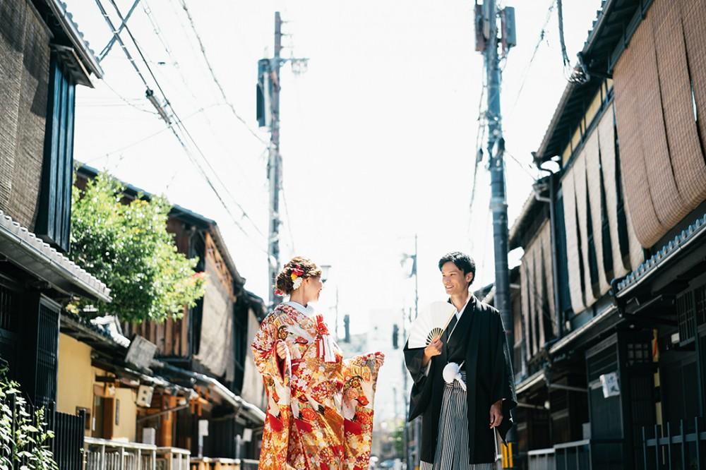 祇園新橋での撮影。京都前撮り美翔苑