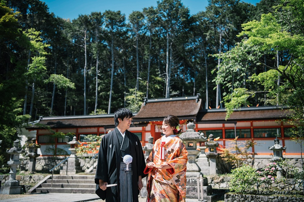 京都は大原野神社での和装の撮影