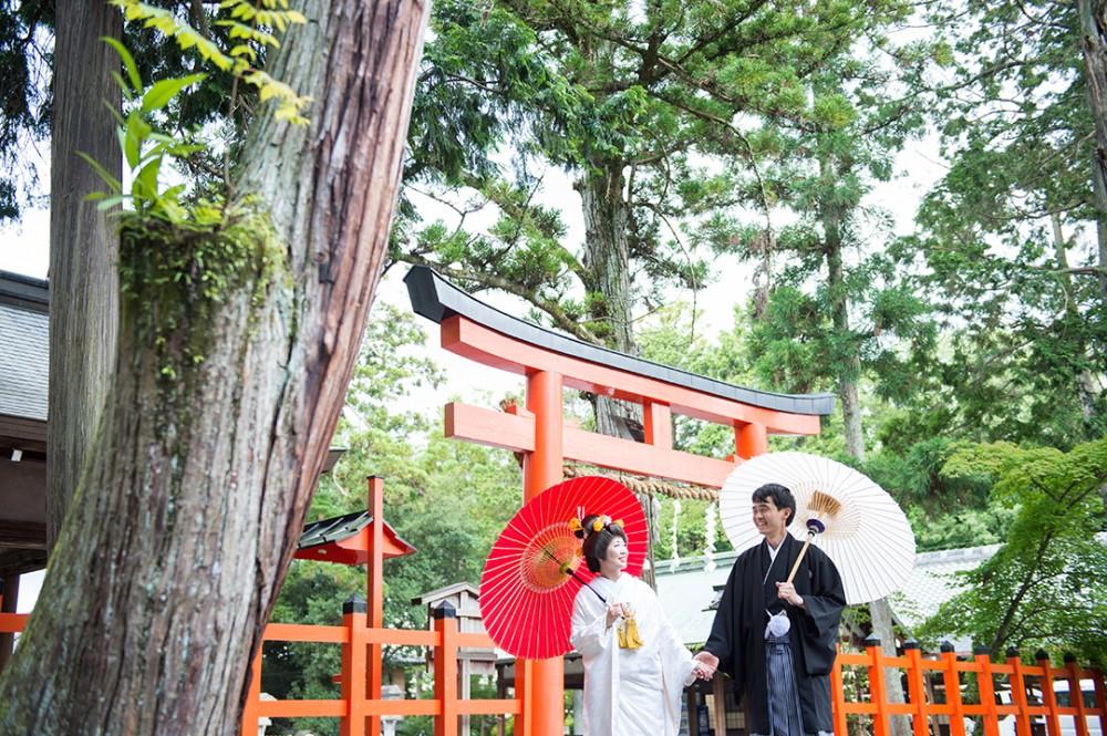 京都の吉田神社にて白無垢で前撮り