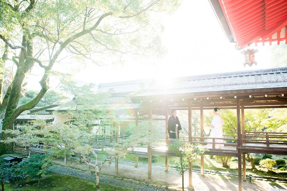 太陽が差し込む京都の仏閣での写真