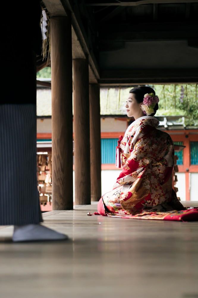 吉田神社の舞台で撮影